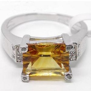 sterling silver citrine ring gem 2 119ct bracket 0442g