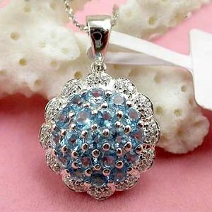 sterling silver gemstone jewelry wholesale 925silver blue topaz pendant