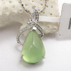 sterling silver gemstone jewelry wholesale 925silver prehnite pendant