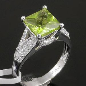 sterling silver gemstone olivine ring