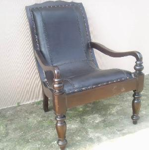 leather lazy chair mahogany teak frame java indonesia