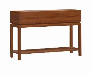 modern minimalist rectangular console table 3 drawers teak mahogany indoor furniture