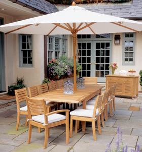 rectangular garden extension table stacking chair umbrella teak kiln dry