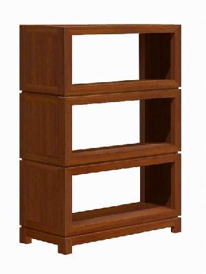 short open book case 3 shelves 150 cm minimalist modern teak mahogany indoor furniture