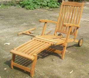 teak decking steamer patio chair with wheels garden outdoor furniture