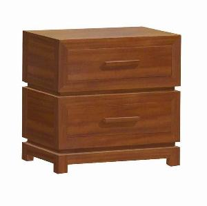 2 drawers minimalist modern bedside mahogany teak wood