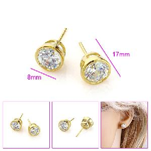 factory 18k gold plating brass cubic zirconia stud earring silver tourmaline jadeite ring