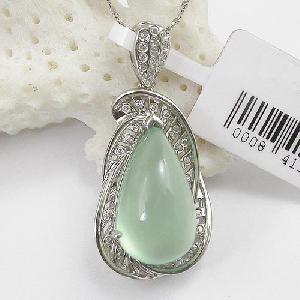 factory 925 silver prehnite pendant stone 10 18 wt 12 245ct bracket 4 07