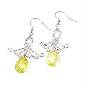 factory rhodium plated brass cubic zirconia drop earring tourmaline ring citrine jewelry