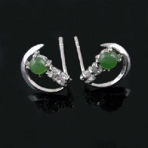 factory sterling jadeite stud earring brass cz jewelry fashion