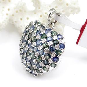 factory sterling silver sapphire pendant brass cz jewelry prehnite ring