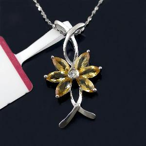 manufactory sterling silver citrine pendant gemstone sapphire ring earring cz jewel
