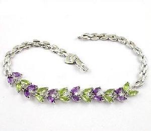 manufacturer sterling silver mix gem bracelet amethyst chalcedony olivine sapphire ring
