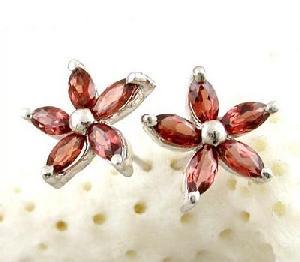 manufacturer sterling silver garnet stud earring ruby rainbow stone necklace earrin