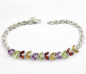 manufacturer sterling silver mix gem bracelet sapphire garnet citrine earring pen