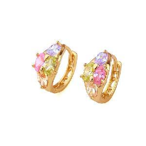 18k gold plating brass cubic zirconia hoop earring sapphire cz jewelry fashion