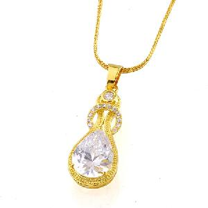 18k gold plating brass cubic zirconia pendant stone 12mm