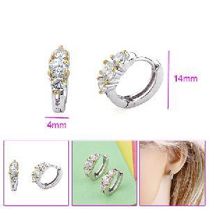 rhodium plated brass cubic zirconia hoop earring silver jewelry prehnite ring amethyst