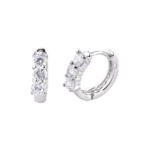 rhodium plated brass cubic zirconia hoop earring sterling silver jewelry