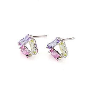 rhodium plated brass cubic zirconia stud earring cz fashion jewelry silver garnet ring