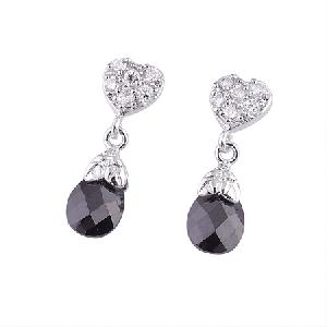 rhodium plated brass cubic zirconia stud earring silver blue topaz sapphire agate ring