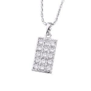 rhodium plated brass cz pendant fashion jewelry gemstone ring