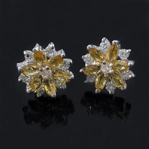 sterling silver citrine earring 18kgold brass cz jewelry