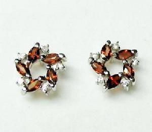 sterling silver garnet stud earringblue topaz ring citrine necklace mix gem bracelet