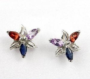 sterling silver naturalmix gem stud earring jewelry ring