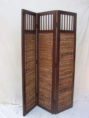 banana leaf abaca room devider mahogany frame woven rattan furniture