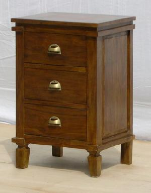 bedside 3 drawers brass handle mahogany indoor furniture