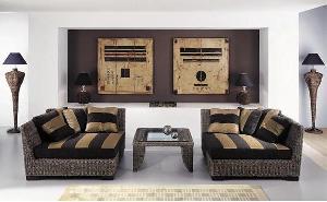 corner sofa woven indoor furniture water hyacinth banana leaf ratan