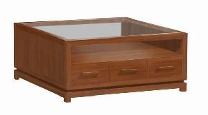 mesa coffee 100 x cm glass minimalist mahogany teak furniture