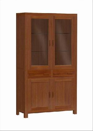 vitrina aoarador mahogany teak vitrine 2 glass doors minimalist indoor furniture indonesia