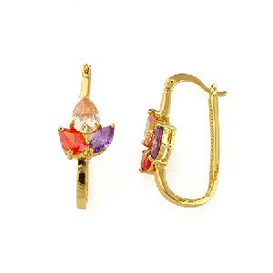 factory 18k gold plating brass cubic zirconia hoop earring colors