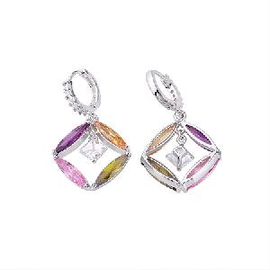 factory rhodium plated brass cubic zirconia drop earring fashion citrine jewelry costume ring