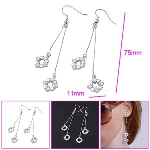 manufactory rhodium plated brass cubic zirconia drop earring costume jewelry fashion cz jewelr