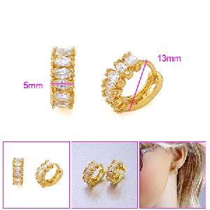 18k gold plating brass cubic zirconia hoop earring blue topazring precious stone jewelry