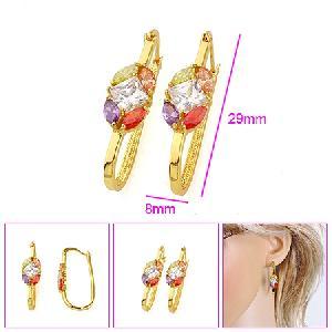 18k gold plating brass cubic zirconia hoop earring bracelet jewelry