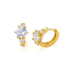 18k gold plating brass cubic zirconia hoop earring precious stone jewelry cz