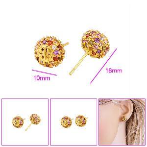 18k gold plating brass cubic zirconia stud earring precious stone ring bracelet cz jewe