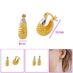 18k gold plating brass hoop earring pendant cz fashion jewelry
