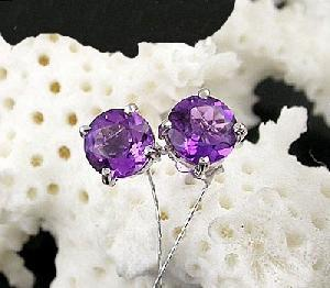 925 silver amethyst stud earring blue topaz fashion jewelry