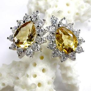 925 silver citrine stud earring blue topaz fashion jewelry agate ring