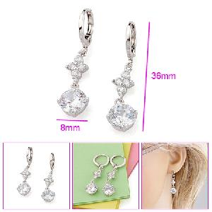 costume jewelry rhodium plated brass cubic zirconia drop earring pendang titanium bracelet