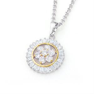 fashion jewelry rhodium plated brass cubic zirconia pendant cz ring