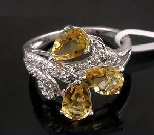 rhodium plated brass 925 silver citrine ring cz fashion jewelry garnet