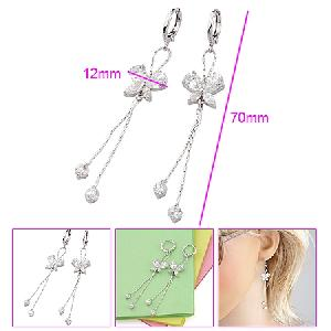 rhodium plated brass cubic zirconia drop earring pearl necklace rhinestone ring pendant