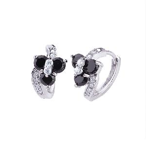 rhodium plated brass cubic zirconia hoop earring stone jewelry cz ring pendant