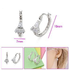 rhodium plated brass cubic zirconia hoop earring pearl pendant rhinestone diamond